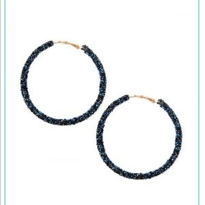 Blue Rhinestone hoops